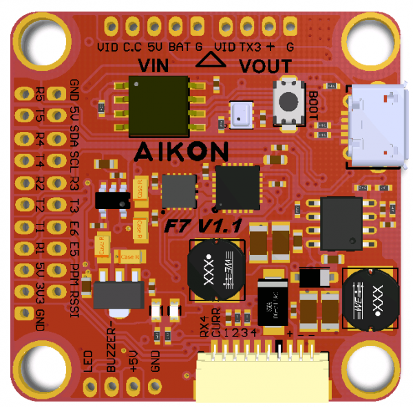 Aikon F7 Flight Controller Top